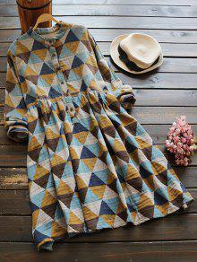 Robe Chemise Imprimé Géométrique Smockée à Carreaux