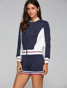 Active Shorts And Baseball Jacket Set - Navy Blue S