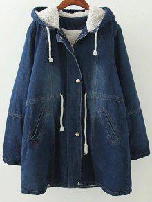 2018 Hooded Denim Coat In Blue L Zaful