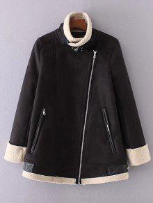 Fleece Lining Faux Suede Funnel Coat - Black S