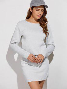 Long Sleeve Drawstring Mini Sweatshirt Dress - Gray M