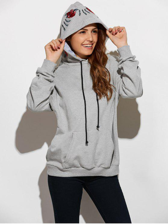 women Embroidered Oversized Hoodie - GRAY L