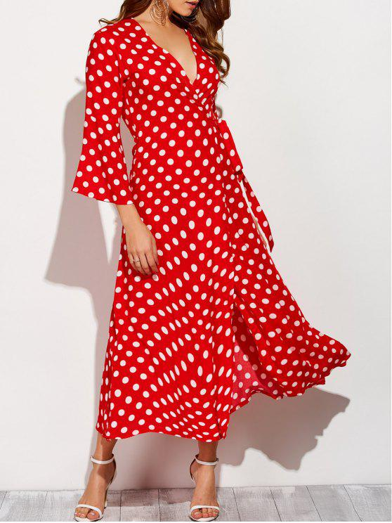 buy Maxi Wrap Red Polka Dot Dress - RED WITH WHITE XL