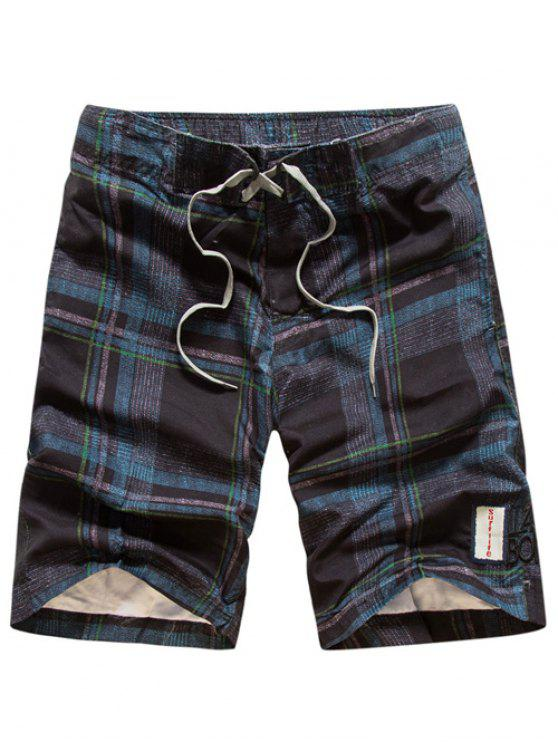 hot Tartan Pattern Lace-Up Straight Leg Shorts - CADETBLUE L