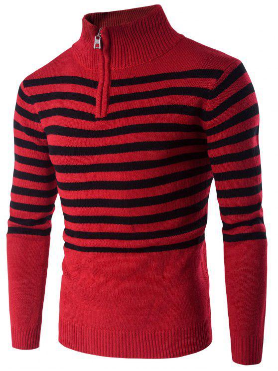 Sweater Up In Half 59Off2019 Stand Striped Collar Zip RedZaful v80OwymNnP