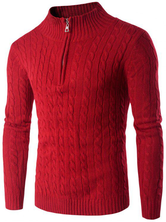 Stehkragen Halb Zip Up Twist Pullover - Rot M