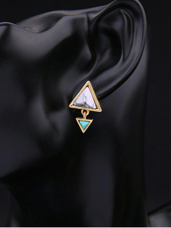 women Geometric Triangle Faux Gem Stud Earrings - GOLDEN