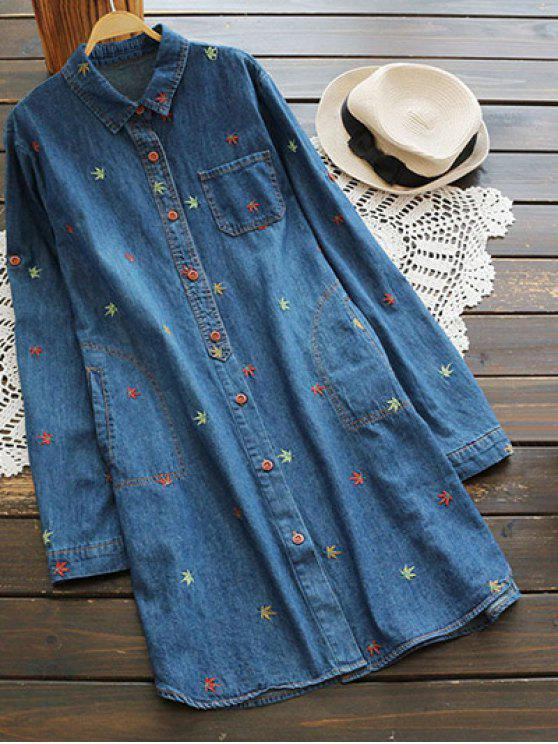 shops Maple Embroidered Denim Shirt - BLUE ONE SIZE
