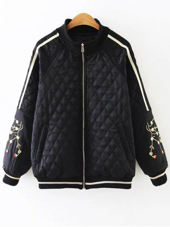 best Embroidered Argyle Jacket - BLACK XL