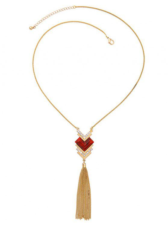 latest Faux Ruby Heart Tassel Sweater Chain - GOLDEN