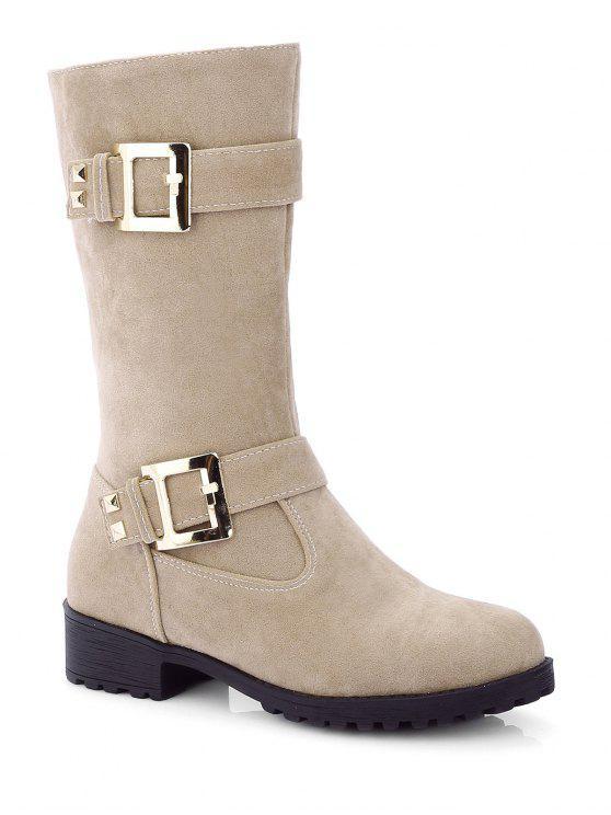 women Zipper Double Buckle Metal Mid-Calf Boots - LIGHT KHAKI 38