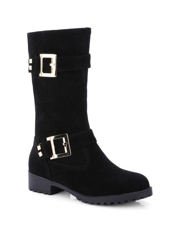 Bota Media Tacón Plano Doble Hebilla y Zipper - Negro 39
