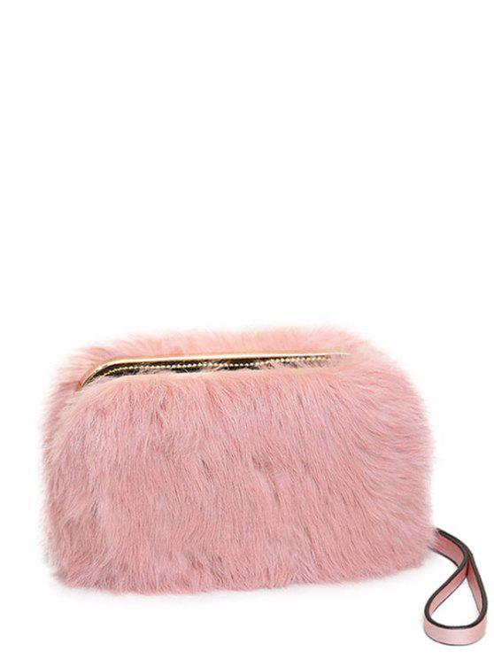 outfits Zip Around Metal Trimmed Fuzzy Evening Bag - PINK