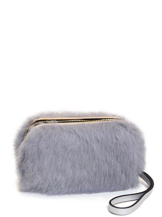 shop Zip Around Metal Trimmed Fuzzy Evening Bag - GRAY