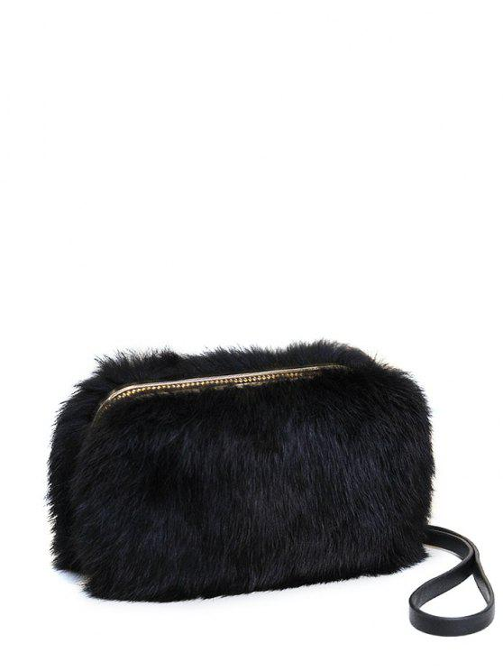 shops Zip Around Metal Trimmed Fuzzy Evening Bag - BLACK
