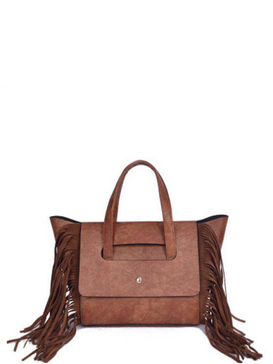shops Fringe Winged PU Leather Handbag - BROWN