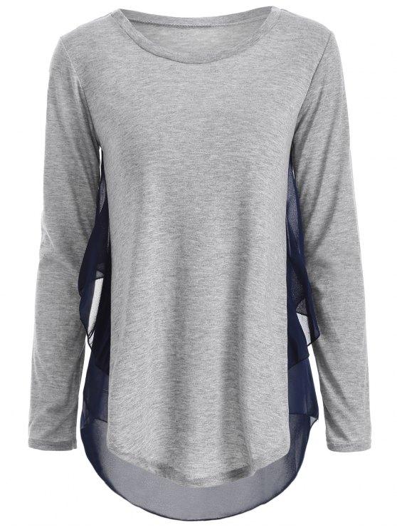 Em torno do pescoço Chiffon emendado t-shirt - Cinza claro L