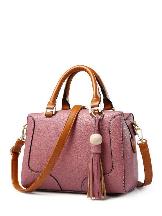 affordable PU Leather Tassel Wood Ball Handbag - PINK
