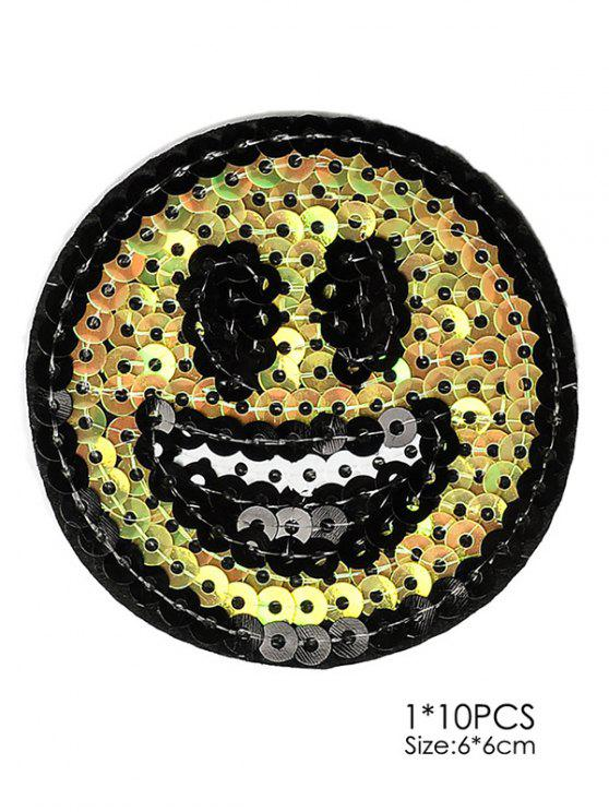 buy 10 PCS Smile Design Embroidered Patches - YELLOW