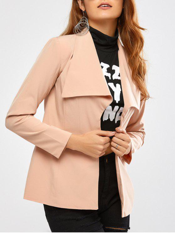 online Back Slit Drape Front Blazer - APRICOT M