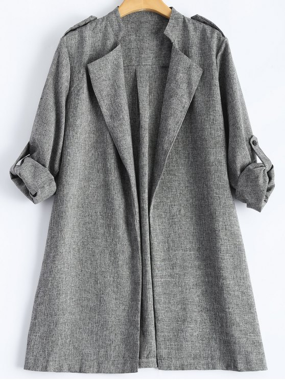 womens Plus Size Trench Coat - GRAY 4XL