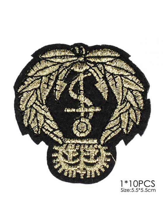 online 10 PCS Leaves Design Embroidered Patches - BLACK