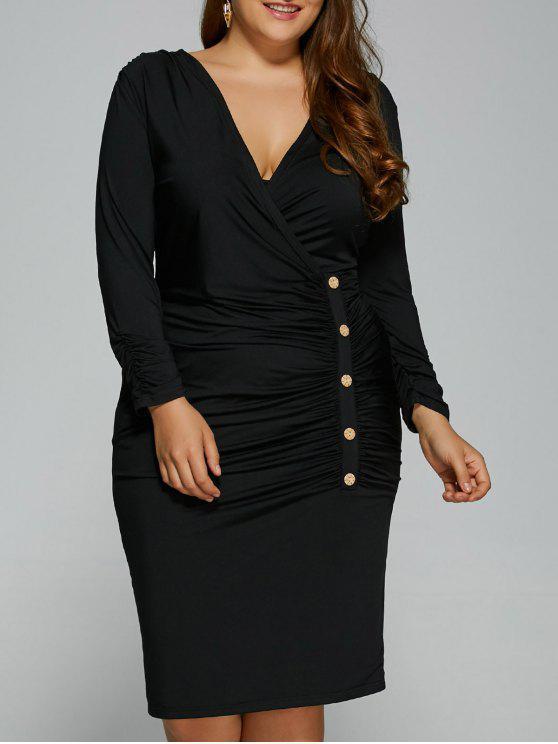 sale Button Decorated Surplice Plus Size Dress - BLACK XL