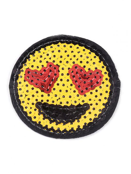 shop 10 PCS Smile Heart Embroidered Patches - YELLOW