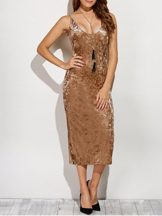 fashion Back Slit Velvet Cami Pencil Dress - KHAKI XL