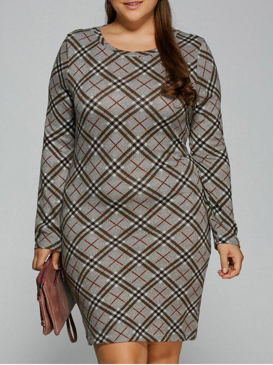 ladies Long Sleeve Plaid Sheath Tee Dress - CHECKED 2XL