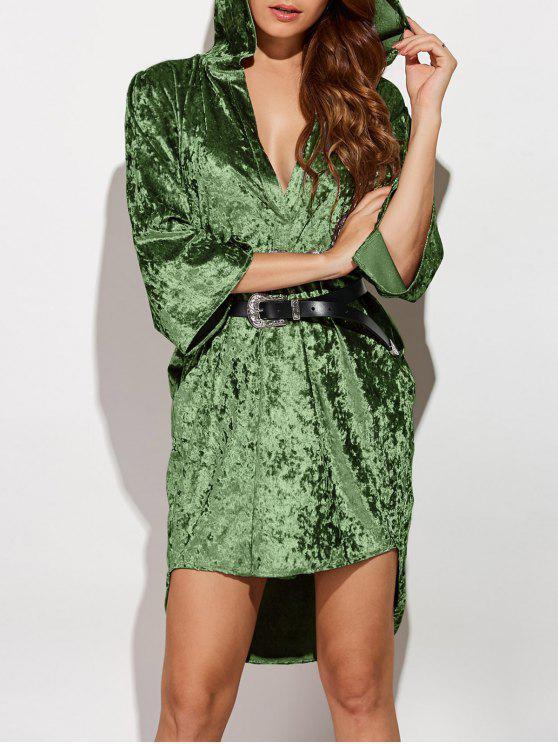 shop Hooded Shiny Velvet Dress - ARMY GREEN L