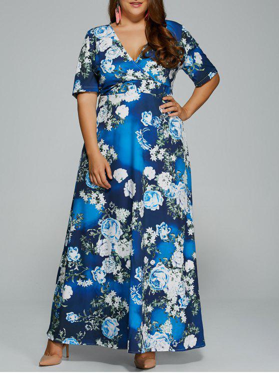 Floral Plus Size Kleid - Blumen 3XL