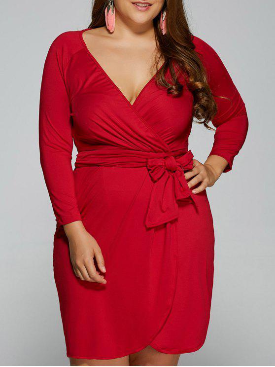 Sheath Plus Size Wrap Dress - Vermelho 3XL