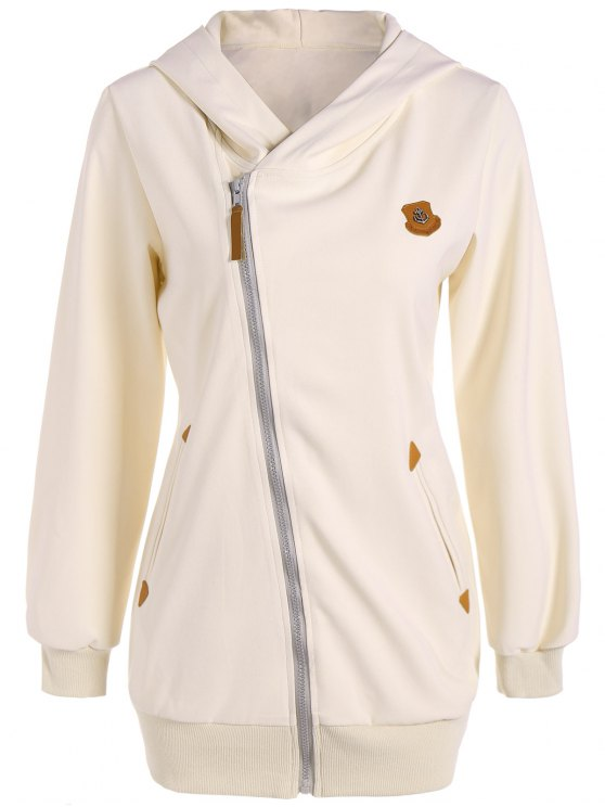 trendy Leather Patch Inclined Zip Up Hoodie - OFF-WHITE M