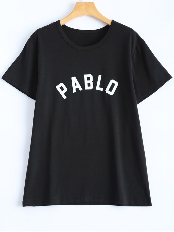 affordable Casual Streetwear Letter T-Shirt - BLACK L