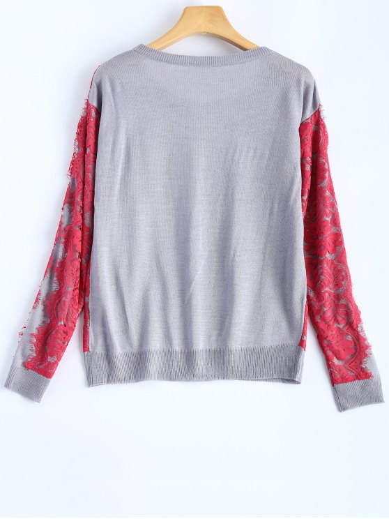 Applique SweaterGris SweaterGris Applique Lace Lace L vn0wm8N