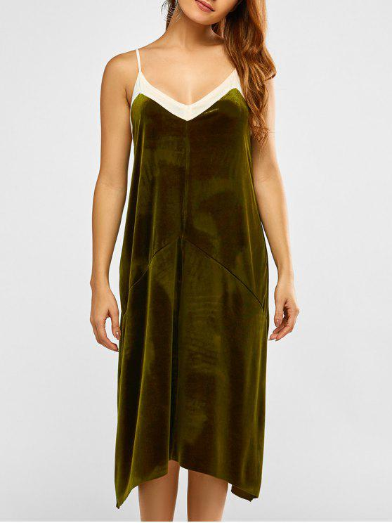 women Mesh Trim Velvet Cami Dress - GREEN M