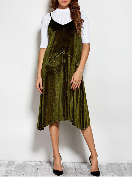 women's Loose Velvet Midi Dress - GREEN ONE SIZE