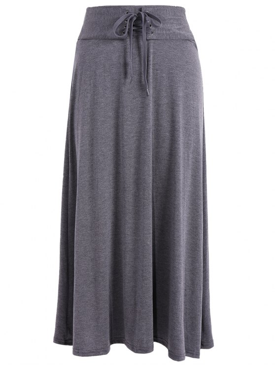 Lace Up Maxi gonna - Grigio Scuro Una Taglia