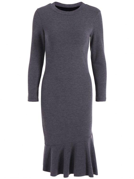 latest Mermaid Sweater Dress - DEEP GRAY 3XL