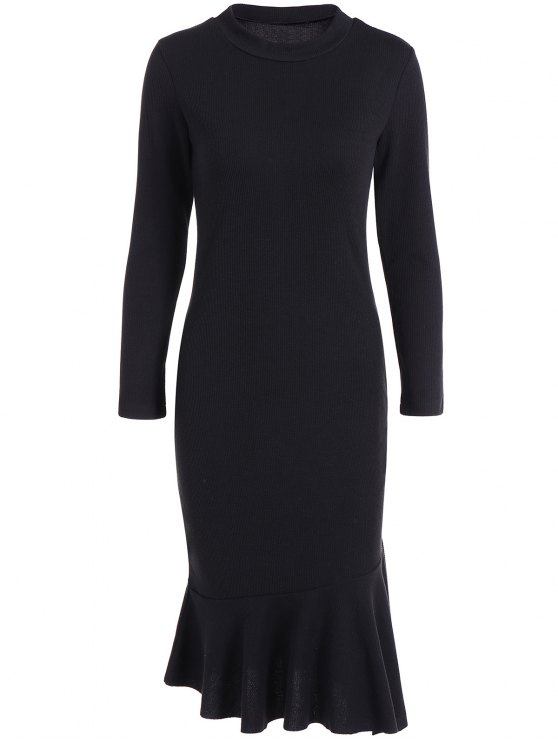 affordable Mermaid Sweater Dress - BLACK XL