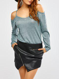 Cold Shoulder Long Sleeves T-Shirt For Women - Green S