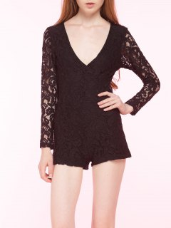 Slimming Lace Plunging Neck Romper - Black L