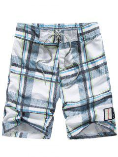 Tartan Pattern Lace-Up Straight Leg Shorts - Light Blue 3xl