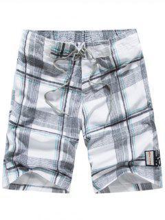 Tartan Pattern Lace-Up Straight Leg Shorts - White Xl