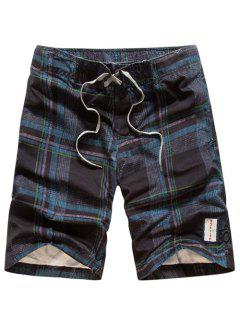 Tartan Pattern Lace-Up Straight Leg Shorts - Cadetblue L