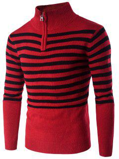 Half Zip Up Stand Collar Striped Sweater - Red M