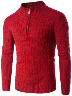 Stand Collar Half Zip Up Twist Sweater - Red M