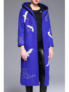 Manteau Brodé à La Mousse En Laine Mélangé - Bleu M