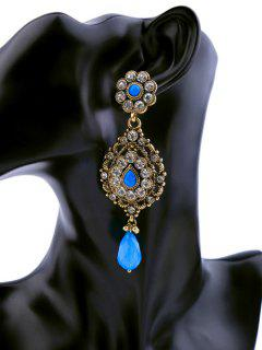 Vintage Rhinestone Faux Sapphire Earrings - Blue